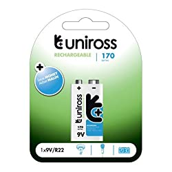 Uniross PP3 9v 160mAh 170 Series Performance Rechargeable Batteries Carded 1 by Uniross