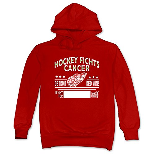 JUST Men's Hockey Fights Cancer Detroit Red Wings Sweatshirts Red