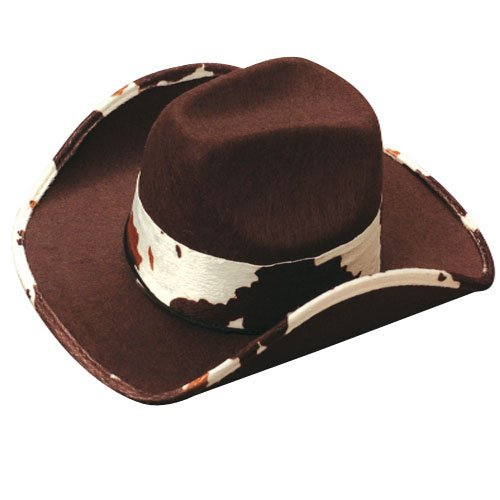 "US Toy - Cowboy Hat With Cowskin Trim, Brown , 5.5"",Made Of Felt, Adult Size"