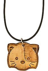 Necklace - Cute Kitten - Raw Wood