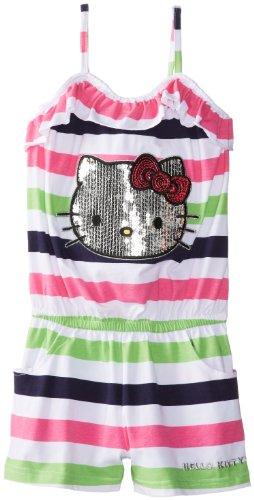 Hello Kitty Big Girls' Sequin Applique Striped Romper, Carmine Rose, 8 front-913076