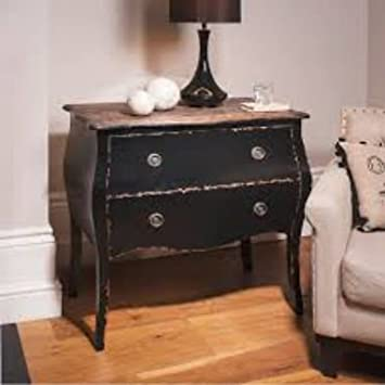 Elegant Curved 2 drawers Chest Black Bombe