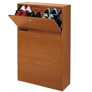 Scarpiera armadio porta scarpe 3 ante ribaltabili ciliegio for Armadio amazon