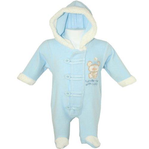 Baby Boys 'Handle Me With Care' Applique Teddy Design Fleece Pramsuit / Pram Suit with Hood (Blue) (Newborn)