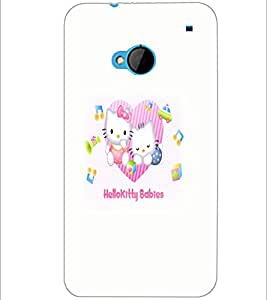 PrintDhaba Kitty babies D-5521 Back Case Cover for HTC ONE M7 (Multi-Coloured)