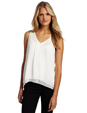 DKNYC Women's Sleeveless Vneck Pleated Top, Ivory, Small