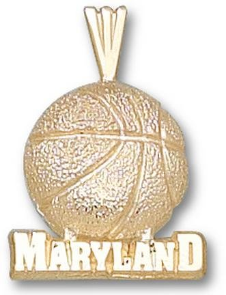 Maryland Terrapins Maryland Basketball Pendant - 14KT Gold Jewelry by Logo Art