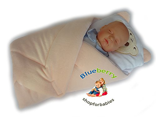Blueberry Shop Exclusive Warm Velour Newborn Swaddle Wrap Blanket Duvet Sleeping Bag Snuggle Apricot