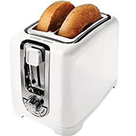 Black & Decker TR1256W 850-Watt 2-Slice Toaster with Bagel Function and Removable Crumb Tray