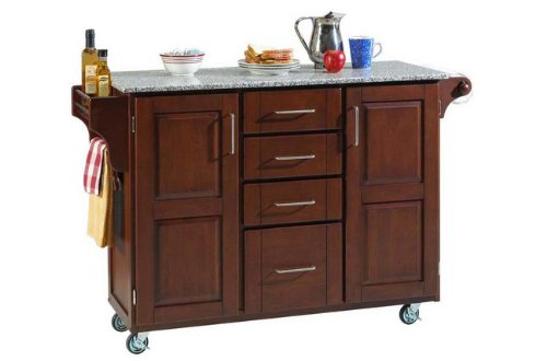 Cheap Home Styles Large Kitchen Cart With Granite Top – Salt & Pepper/Medium Cherry – 9100-1073 (9100-1073)
