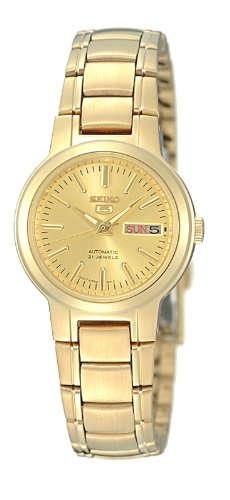 Seiko Women's 5 Automatic SYME46K Gold Gold Tone Stainles-Steel Automatic Watch with Gold Dial