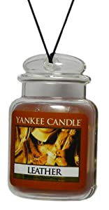 Yankee Candle Gel Car Jar Ultimate Hanging Odor Neutralizing Air Freshener, Leather
