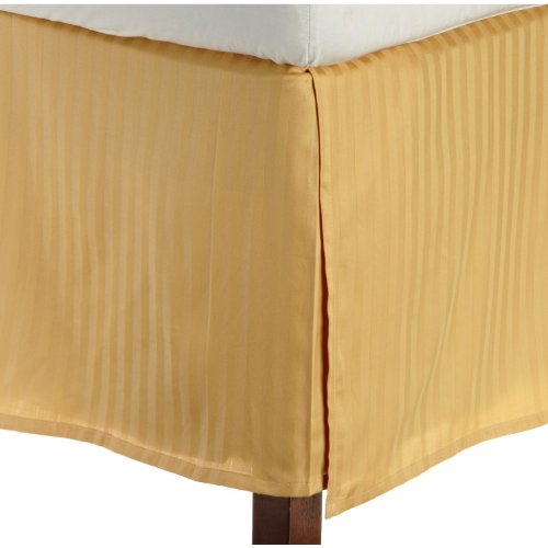 """Egyptian Quality Stripe Bed Skirt - Pleated Tailored 14"""" Drop - All Sizes And Colors , Full, Gold front-979712"""