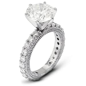 6.70 Carat Exc-Cut Round I-SI2 GIA Certified Diamond 14k Gold Engagement Ring with Milgrains 5.89gr