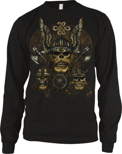 Celtic Viking Skulls Mens Tattoo Thermal Shirt, Viking Skulls With Axes Celtic Style Design Long Sleeve Thermal, Large, Black