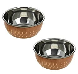 Set of 2, Stainless Steel Copper Indian Dinner Bowls Dinnerware Accessories, Diameter 4 Inches