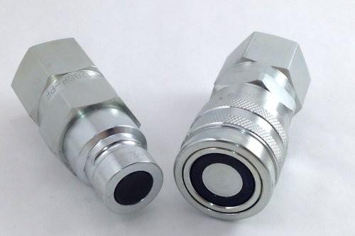 "Bobcat Hydraulic Couplers ~Heavy Duty~ Skid Steer Quick Connect Set - Flat Face 1/2"" Coupling to Fit Most Attachments - Iso16028 Standard"