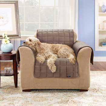 Sure Fit Quilted Velvet Deluxe Chair Pet Throw, Chocolate