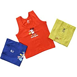 Baby Bucket Printed Sleeveless Vests 3 Pcs. Set (color may vary.)3-6 Months, Yellow