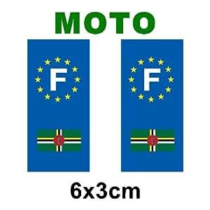 .com - Autocollant plaque immatriculation drapeau dominique - Moto