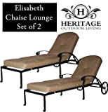 Heritage Outdoor Living Cast Aluminum Elisabeth Outdoor Patio Chaise Lounge Set with Walnut Brown Cushion- Set of 2 - Antique Bronze Finish