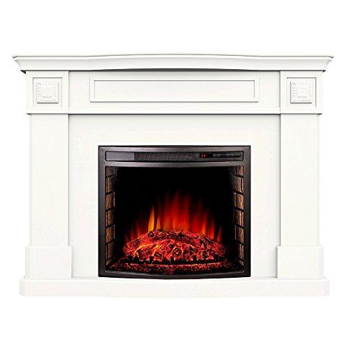 Argo Furniture Alessa Electric Fireplace, White (Electric White Fireplace compare prices)