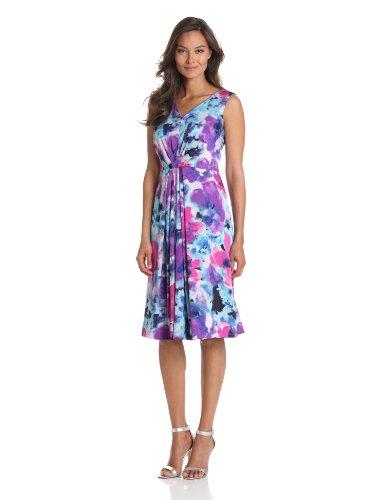 Jones New York Women's Petite Burst Pleat Dress, Multi, 14