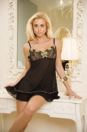 New Ladies Camille Mesh Camisole Lace Lingerie Sexy Floral Babydoll Briefs Thong