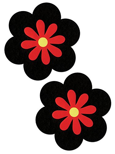 Daisy Nipple Pasties Black & Red Pastease O/S