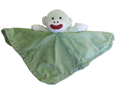 Green Sock Monkey Snuggle Buddy Security Blanket - 1