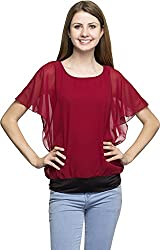 Dashy Club Women's Regular Fit Top (VV-9011-AC-RED TOP, Red, S)