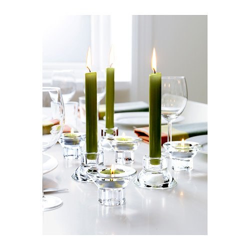Deluxe Dual Function Glass 2 in 1 Tea Light / Candle Stick Candle Holder