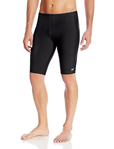 Speedo Men's Endurance+ Polyester Solid Jammer Swimsuit, Black,