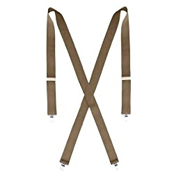 Big and Tall Dress Khaki Suspenders for Men - 54 inches Long - 1.5 inches Wide