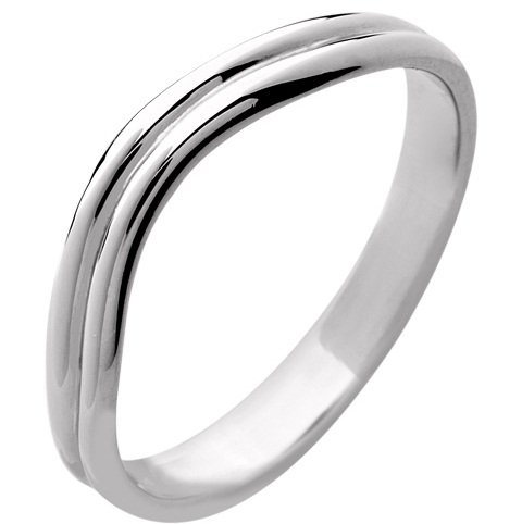 18ct White Gold Ladies Shaped Wedding Ring Width 4mm