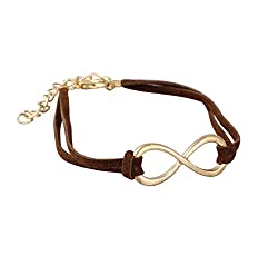 Aaishwarya Funky Brown Metal Infinity Leather Wrap Bracelet For Men & Women