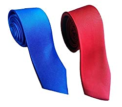 WSD men's narrow royal blue and red micro fiber tie pack of two (NAVY BLUE)