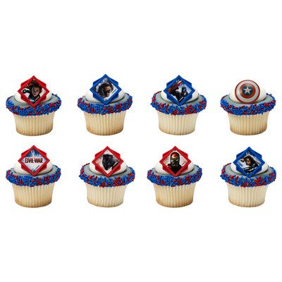 Captain America Divided Cupcake Rings - 24 ct (War Ring compare prices)