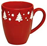Waechtersbach Tannenbaum Trees Christmas Caffelatte Mugs, Set of 4, Red