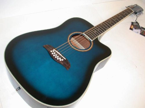 Oscar Schmidt By Washburn 12 String Acoustic/Electric Guitar, Od312Cettbl, Trans Blue