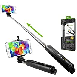 Sony Xperia Z3 Black Extendable Wireless Self Portrait Selfie Handheld Monopod for Smartphones and Cameras with Bluetooth Controls
