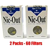 NIC-OUT Cigarette Filters 2 Packs (60 Filters) Smoking Free Tar & Nicotine Disposable Nicout Holders for Smokers DON'T QUIT SMOKING Nicfree