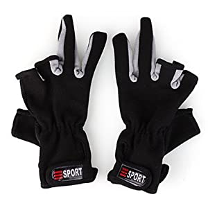 Professional Fishing Anti-Slip Gloves (Black) by INHDBOX