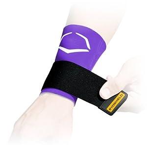 EvoShield Compression Wrist Sleeve with Performance Elastic Strap (Purple, Small)