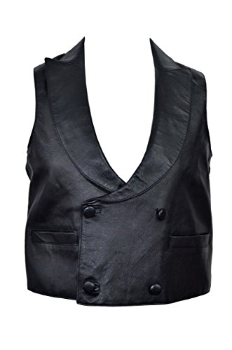 EDWARDIAN-Mens-BLACK-Steam-Punk-Victorian-Real-Lambskin-Leather-Waistcoat