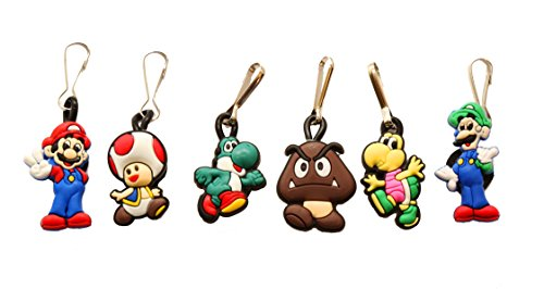 6 pcs Super Mario Brothers # 1 Zipper Pull Charms for Jacket Backpack Bag Pendant