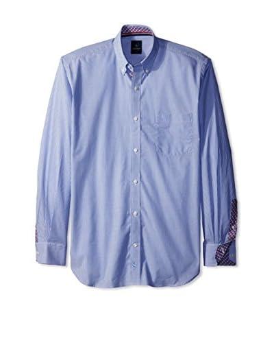TailorByrd Men's Thin Stripe Spread Collar Sport Shirt with Contrast Cuff