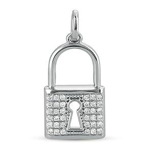 14k .36 Dwt Diamond White Gold Lock Charm 25mm - JewelryWeb