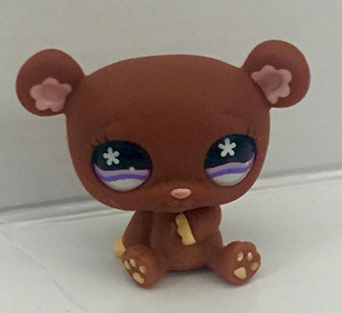 Bear #671 (Brown, Purple Eyes) - Littlest Pet Shop (Retired) Collector Toy - LPS Collectible Replacement Figure - Loose (OOP Out of Package & Print)