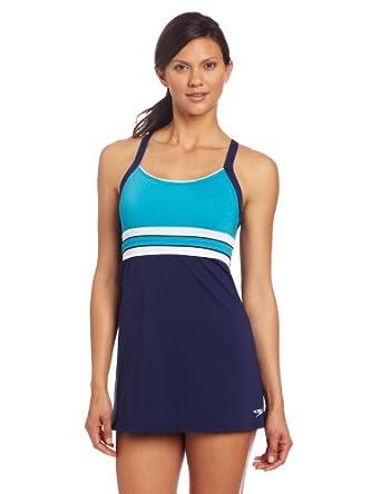 Speedo Women's Horizon Splice Ultraback Endurance+ Swim Dress, Teal, 8
